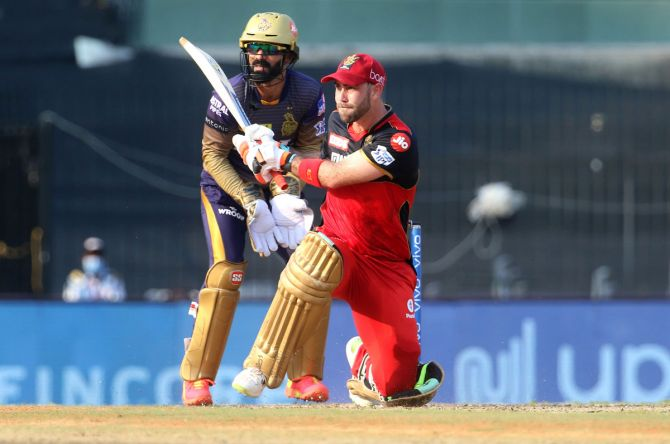 Royal Challengers Bangalore's Glenn Maxwell bats against Kolkata Knight Riders during the first phase of the Indian Premier League, in April.