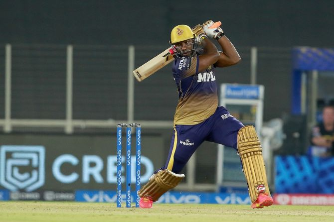 Andre Russell hit a four sixes in his 27-ball 45 to enable Kolkata Knight Riders put up a fighting total