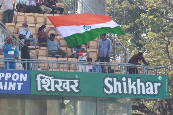 Sudhir Chaudhary, India's most passionate cricket fan, waves the tricolour at Chepauk