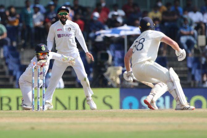 India's wicketkeeper Rishabh Pant stumps Daniel Lawrence