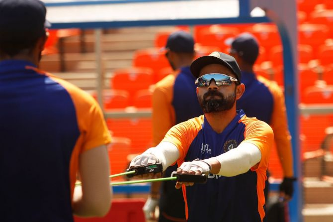 Virat Kohli at a practice session at the Motera Stadium in Ahmedabad on Saturday