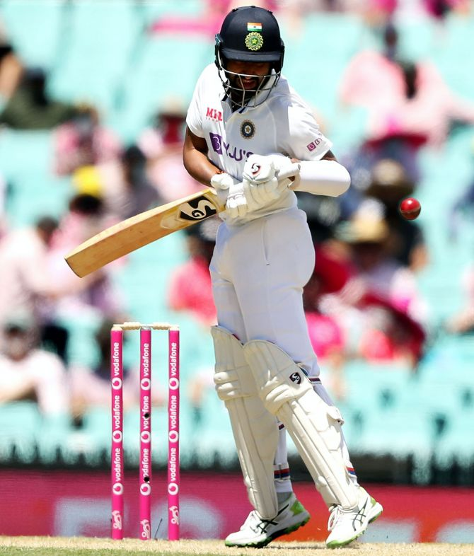 India's Cheteshwar Pujara bats during Day 3 of the third Test against Australia at the Sydney Cricket Ground on Saturday.