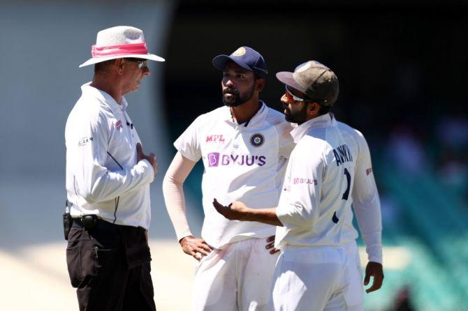 India skipper Ajinkya Rahane and Mohammed Siraj lodge a formal complaint with the umpires after spectators abuse the latter during Day 4 of the third Test, at the Sydney Cricket Ground, on Sunday