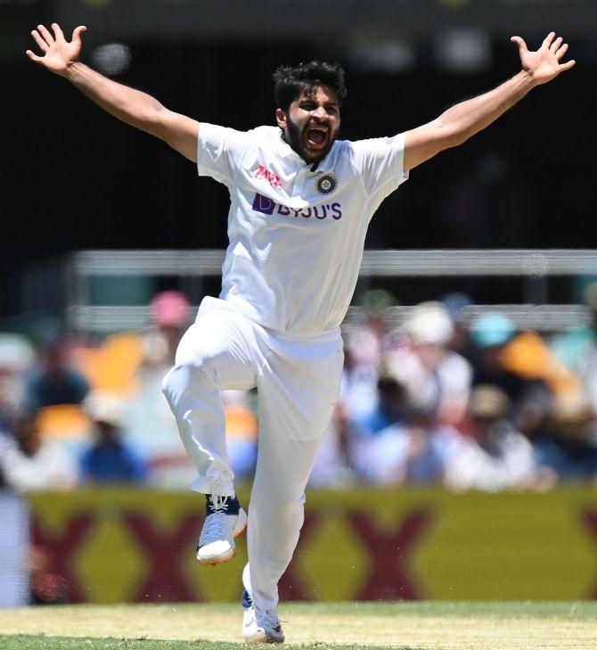 India pacer Shardul Thakur celebrates after dismissing Tim Paine