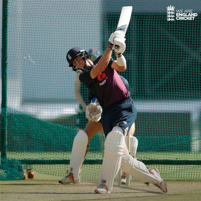 Joe Root bats in the nets in Ahmedabad on Wednesday