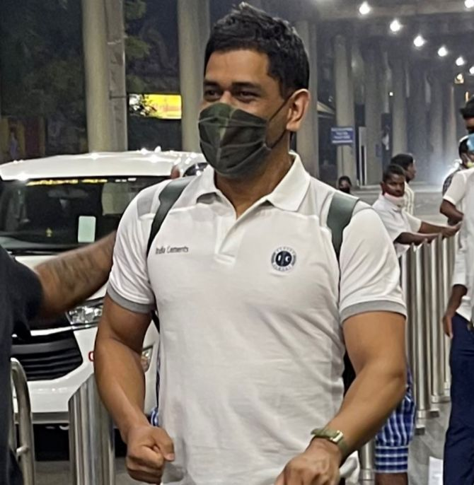 Mahendra Singh Dhoni arrives in Chennai for CSK's training camp