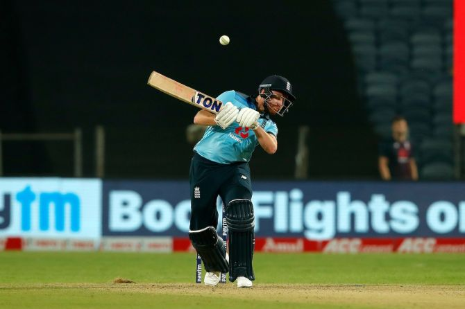 England opener Jonny Bairstow ducks a bouncer during the first One-Day International against India, in Pune, on Tuesday.