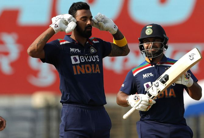 KL Rahul gestures as he celebrates on completing his century on Friday