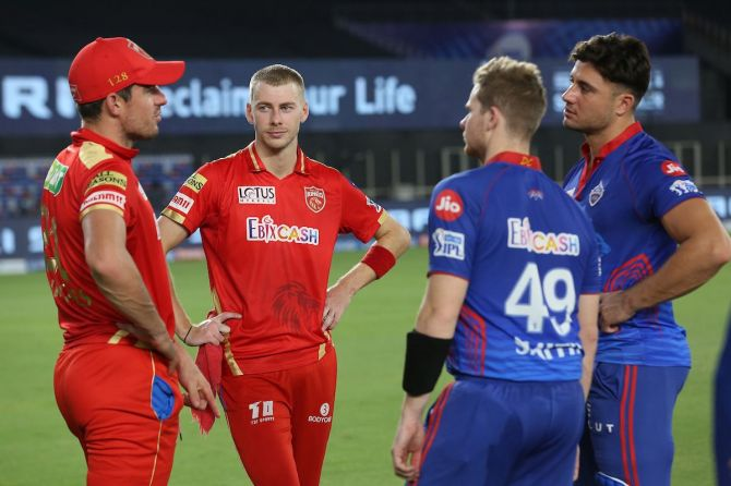 Aussie players Marcus Stoinis, Steve Smith, Moises Henriques and Daniel Sams after an IPL match.  CA is in contact with BCCI to ensure safe repatriation of Australian contingent, ANI has reported.