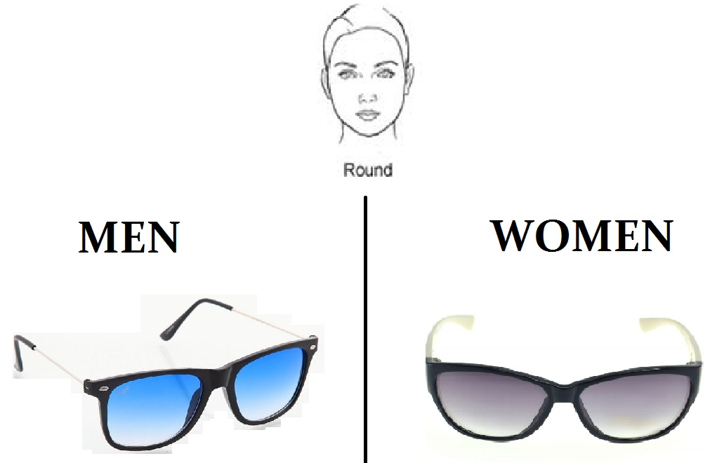 """240ecd3492 Men with a round face can pick """"Wayfarer Sunglasses"""" while women can go for  """"Cat Eye Sunglasses"""" as it adds an angle to their otherwise softer face and  draw ..."""