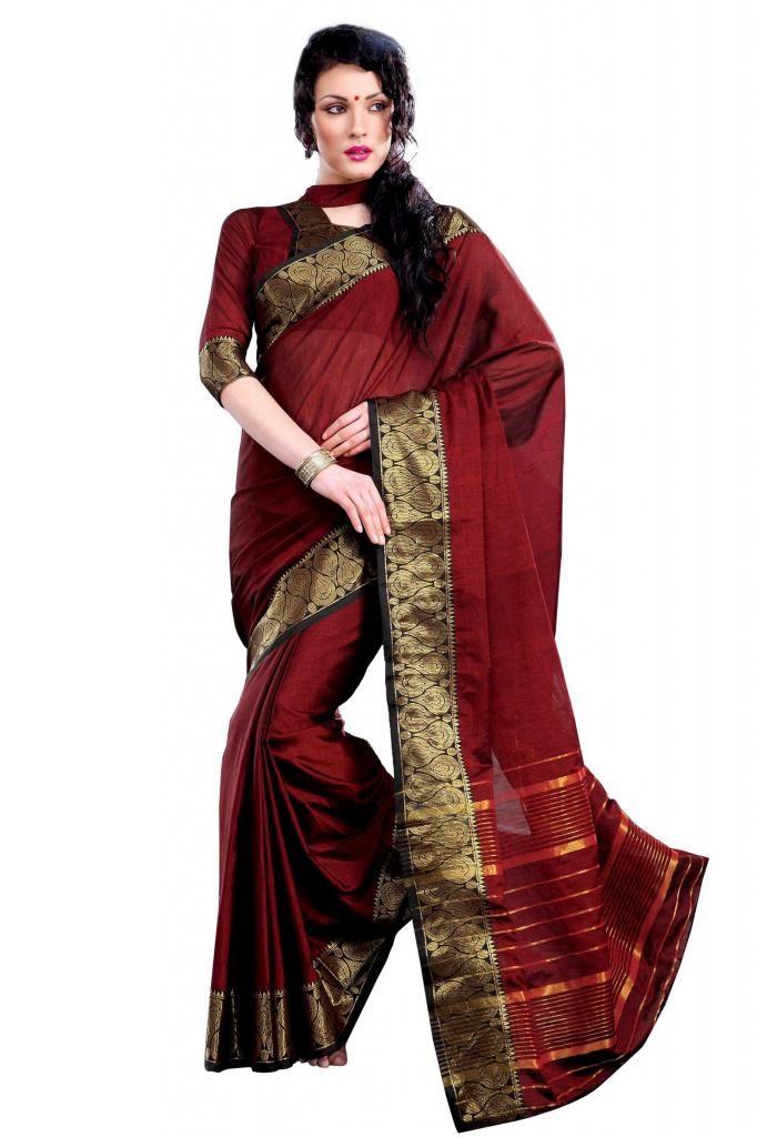 Ishin Cotton Red Saree