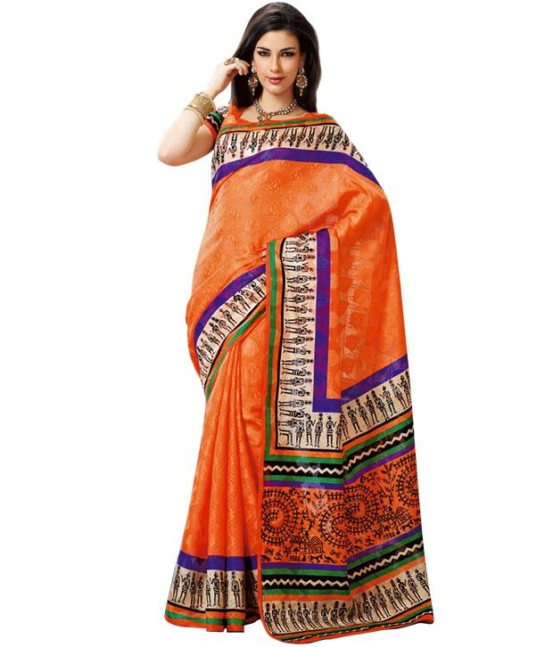 Prafful Orange Bhagalpuri Silk Printed Saree @ Rs.799