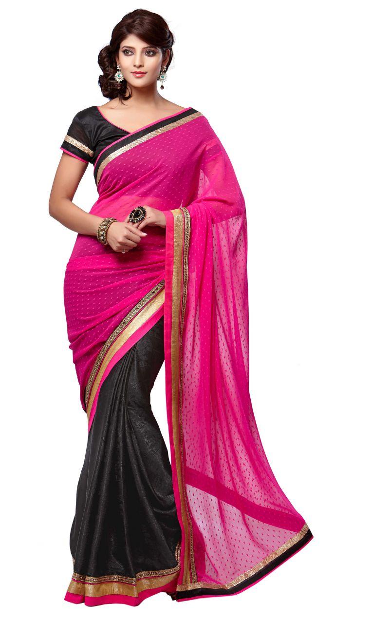 Triveni Wonderful Dual Colored Jacquard Chiffon Saree