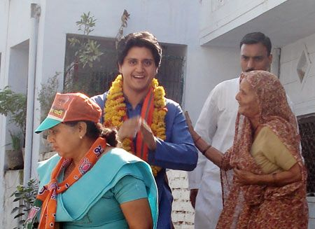 Akshay Bhansali campaigns for his mother Yashodhara Raje in Gwalior in 2009. Photograph: Seema Pant/Rediff.com