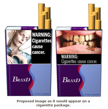 A proposed design for a cigarette packet in the US