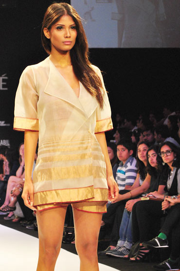 A model walks in one of Vaishali's outfits at Lakme Fashion Week Summer-Resort 2011