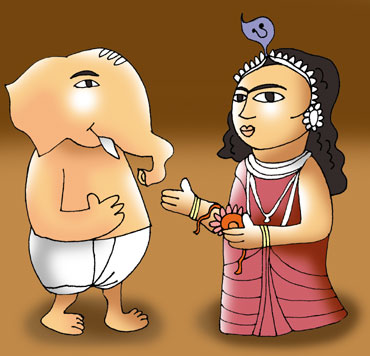 Ganesha and his sister Manasa