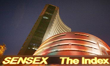 The illuminated Bombay Stock Exchange building is seen during Diwali