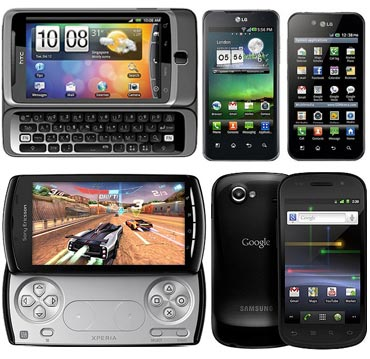 A collage of Android phones in India