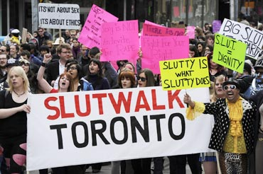 People take part in the Slutwalk protest in Toronto April 3, 2011