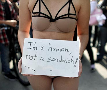 A woman takes part in the 'Marcha das Vagabundas' (SlutWalk) protest in Sao Paulo June 4, 2011
