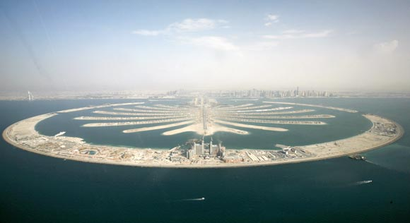 An aerial view of the man-made palm tree-shaped islands in Dubai
