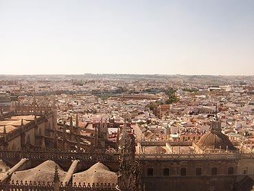 City of Seville from the Cathedral Tower with the Bullring visible in the distance