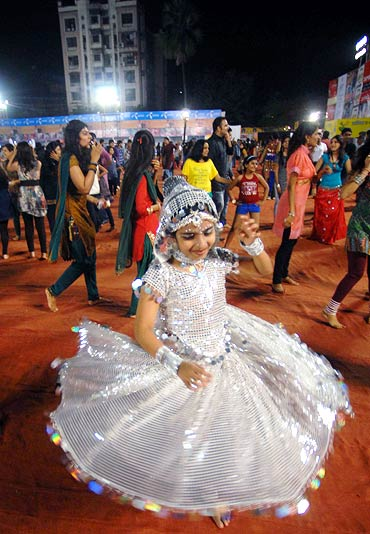 A young girl at a Dandiya night during Navratri