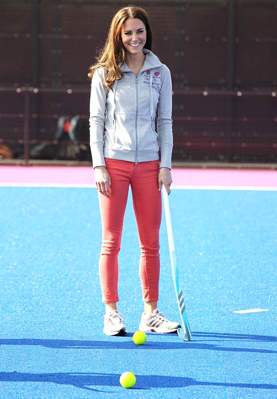 Catherine, Duchess of Cambridge plays hockey with the GB hockey teams at the Riverside Arena in the Olympic Park on March 15, 2012 in London, England