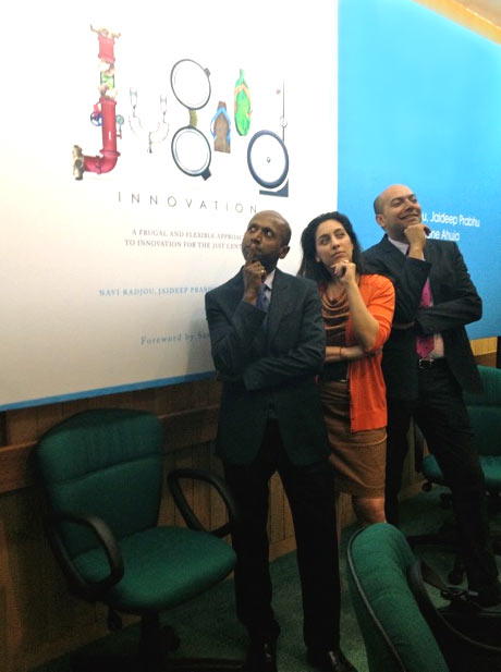 The authors at the launch of their book in Delhi. From left: Navi Radjou, Simone Ahuja and Jaideep Prabhu