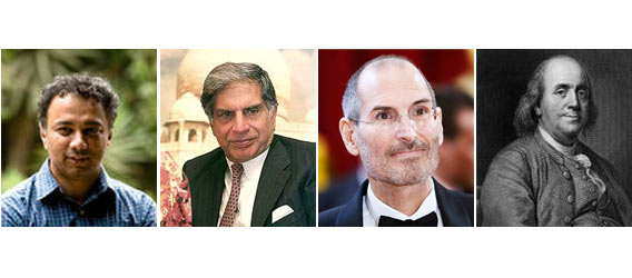 From left: Harish Hande, Ratan Tata, Steve Jobs and Benjamin Franklin