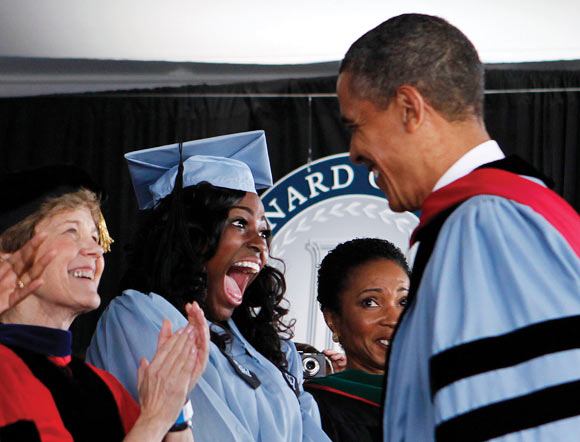 Graduate Britney Wilson with President Obama at Barnard College