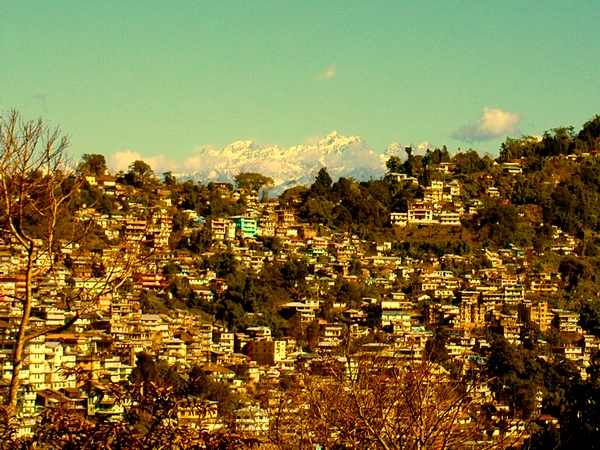 The town of Kalimpong with the Himalaya in the background