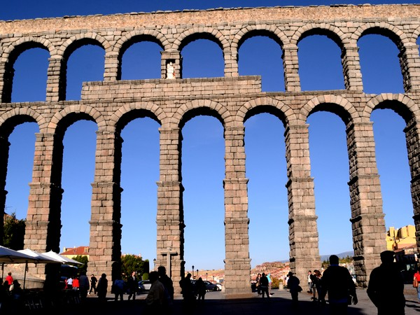 The landmark aqueduct bridge of Segovia