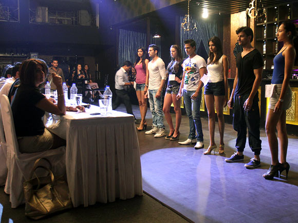 Models line up for the India Resort Fashion Week 2012 auditions on October 23 in Mumbai