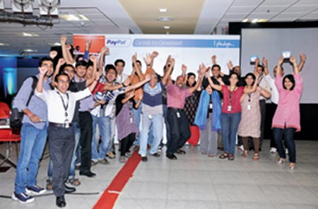 PayPal employees celebrate the company ranked 17 in a survey by research firm Great Places To Work