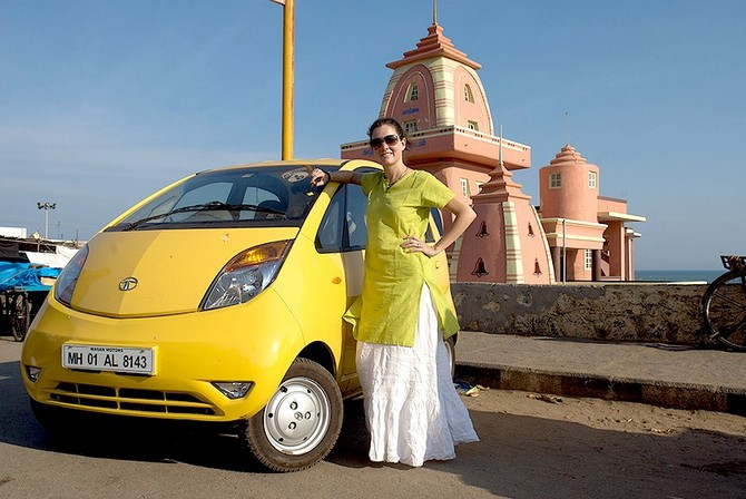 Vanessa Able with her faithful Nano in Kanyakumari