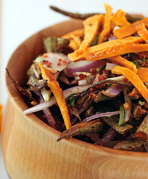 Crispy Okra Salad with Dried Mango Strips