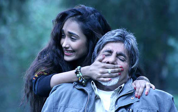 A still from Nishabd where Amitabh Bachchan's character falls in love with his daughter's friend