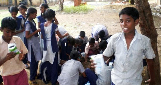 Students of a government school at a tree plantation drive
