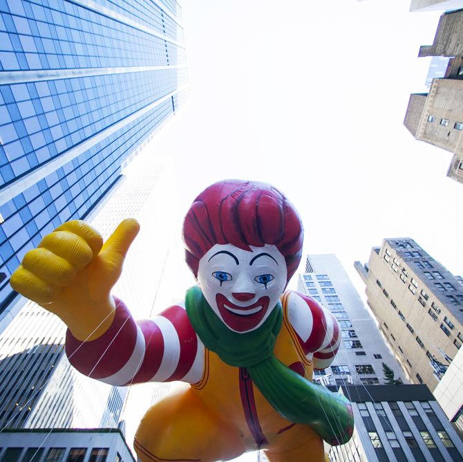 It was at McDonalds that Jawed Habib learnt the most important of his career. Seen here A Ronald McDonald balloon floats down Sixth Avenue during the 87th Macy's Thanksgiving Day Parade in New York.