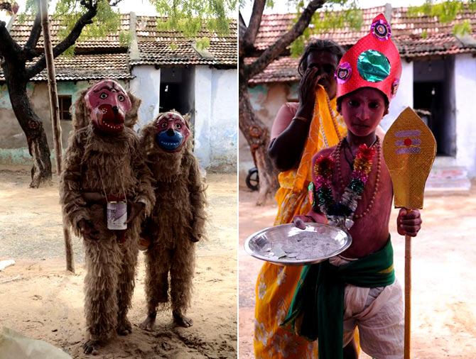 Children and adults wear masks and fancy costumes to beg for alms at the Mutharamman Temple