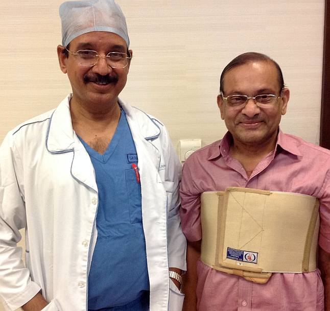 Dr Ramakanta Panda with Mithalal Dhoka, who underwent a heart surgery at the Asian Heart Institute.