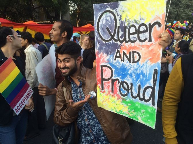 A scene from the 2014 Gay Parade in Delhi. Photograph: Aseem Chhabra