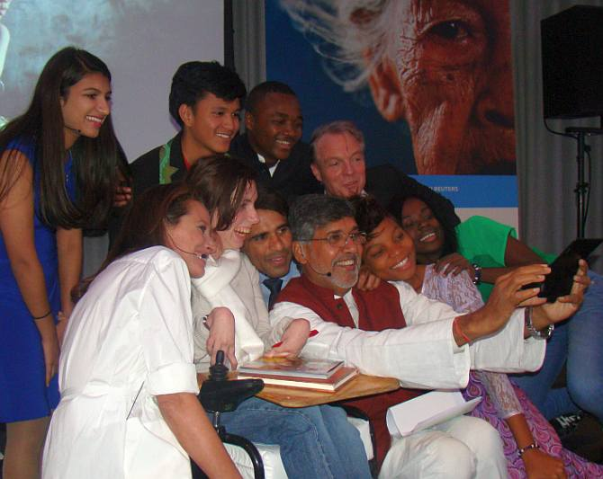 Om Prakash Gurjar (centre) with five other youngsters who were honoured by the KidsRights Foundation, Netherlands, in November along with Nobel Peace Prize winner Kailash Satyarthi and other officials of the Foundation
