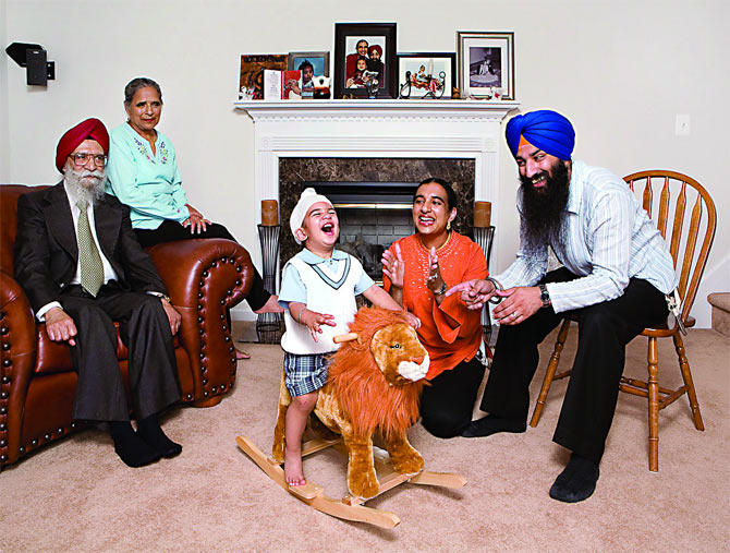 A Sikh family in the US.
