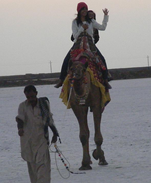 Bienu Vaghela with her daughter Tanya enjoying a camel ride in the Rann