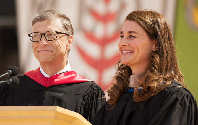 Bill and Melinda Gates at the 123rd Stanford Commencement on June 15.