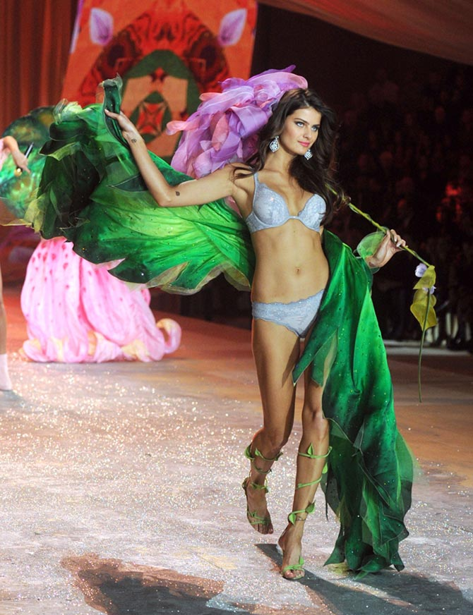 Isabeli Fontana walks the runway during the 2012 Victoria's Secret Fashion Show at the Lexington Avenue Armory in New York City.