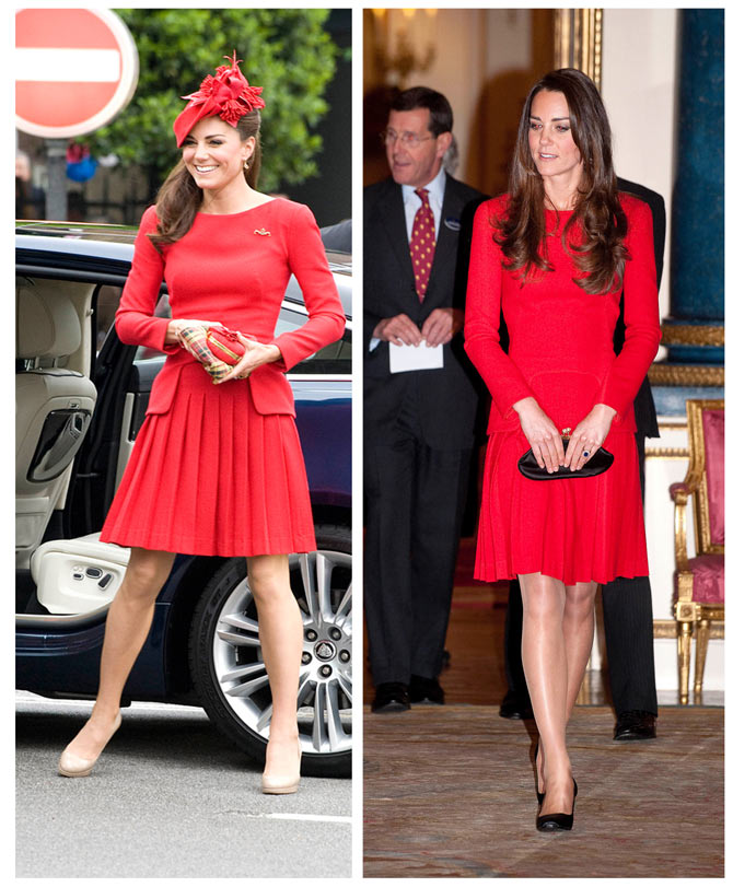 The pretty red dress is among the many that Kate has worn more than once. Unlike many public figures, the Duchess has no qualms in being seen in the same outfit multiple times.